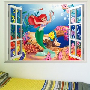 Velika otroška stenska nalepka morska deklica Ariela