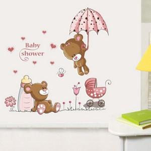 XL velika otroška stenska nalepka prijazni medvedek voziček